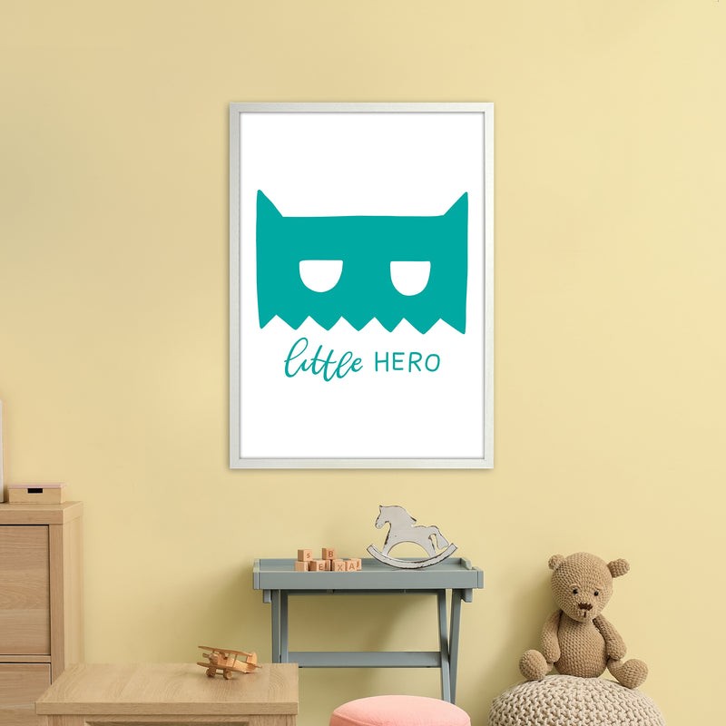 Little Hero Mask Teal Super Scandi  Art Print by Pixy Paper A1 Oak Frame