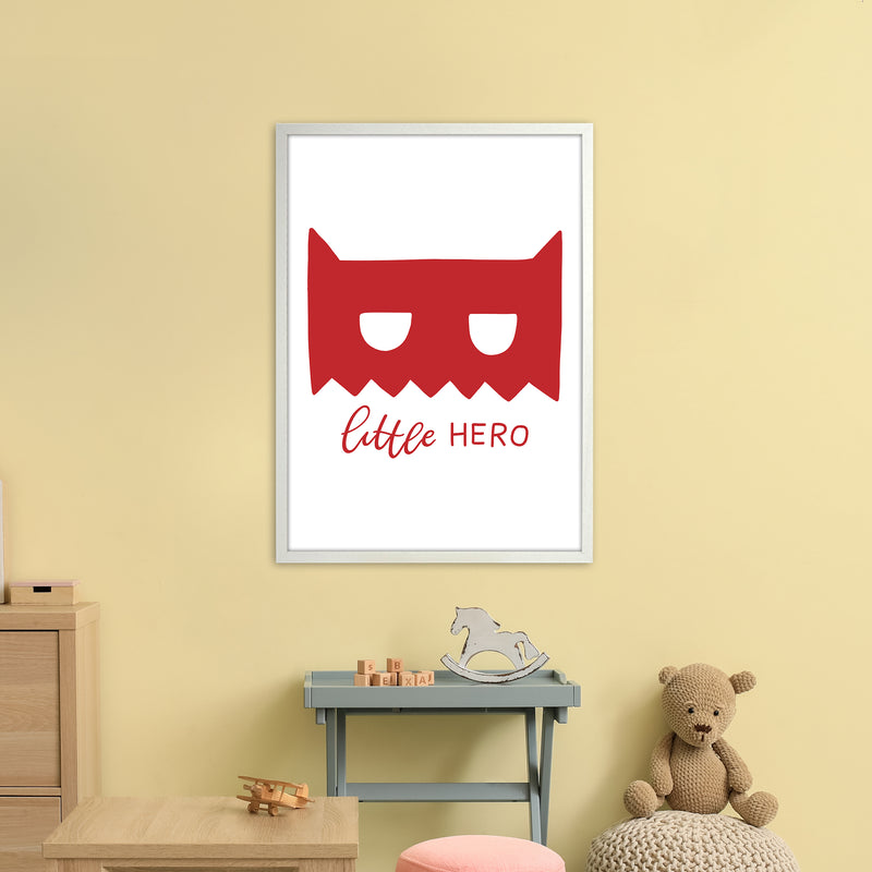 Little Hero Mask Red Super Scandi  Art Print by Pixy Paper A1 Oak Frame