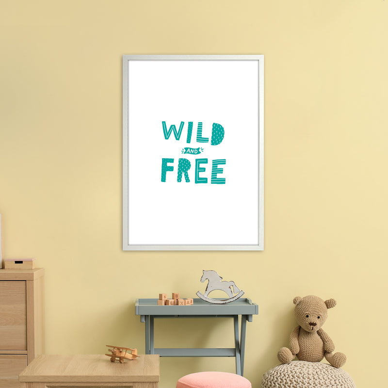 Wild And Free Teal Super Scandi  Art Print by Pixy Paper A1 Oak Frame