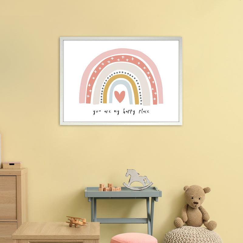 You Are My Happy Place Rainbow  Art Print by Pixy Paper A1 Oak Frame