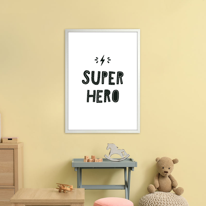 Super Hero Black Super Scandi  Art Print by Pixy Paper A1 Oak Frame