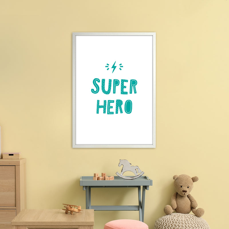Super Hero Teal Super Scandi  Art Print by Pixy Paper A1 Oak Frame
