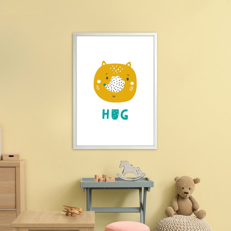 Fox Hug Teal Super Scandi  Art Print by Pixy Paper A1 Oak Frame