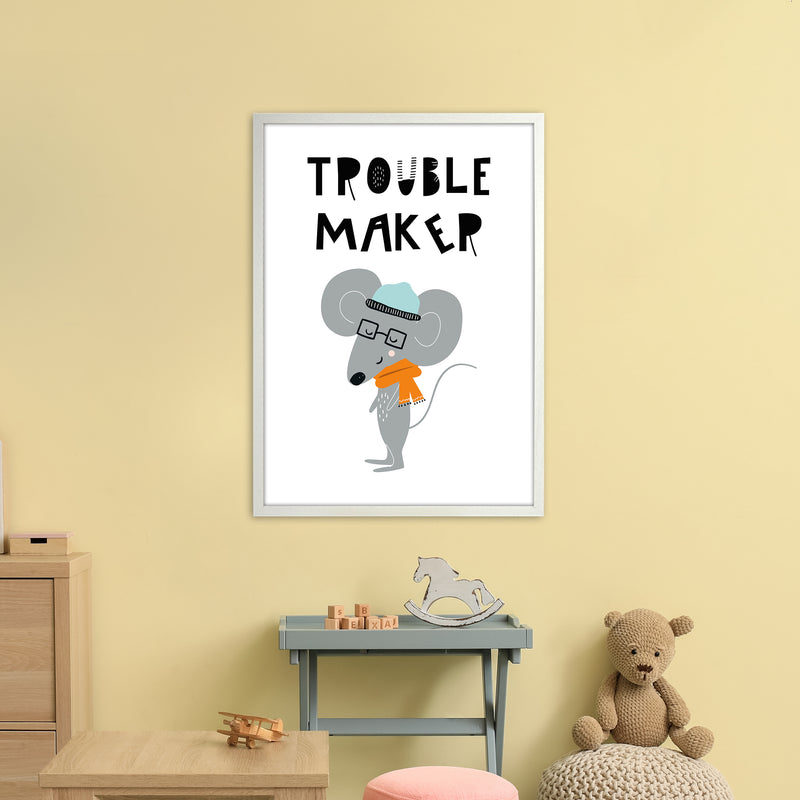 Trouble Maker Animal Pop  Art Print by Pixy Paper A1 Oak Frame