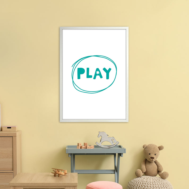 Play Teal Super Scandi  Art Print by Pixy Paper A1 Oak Frame