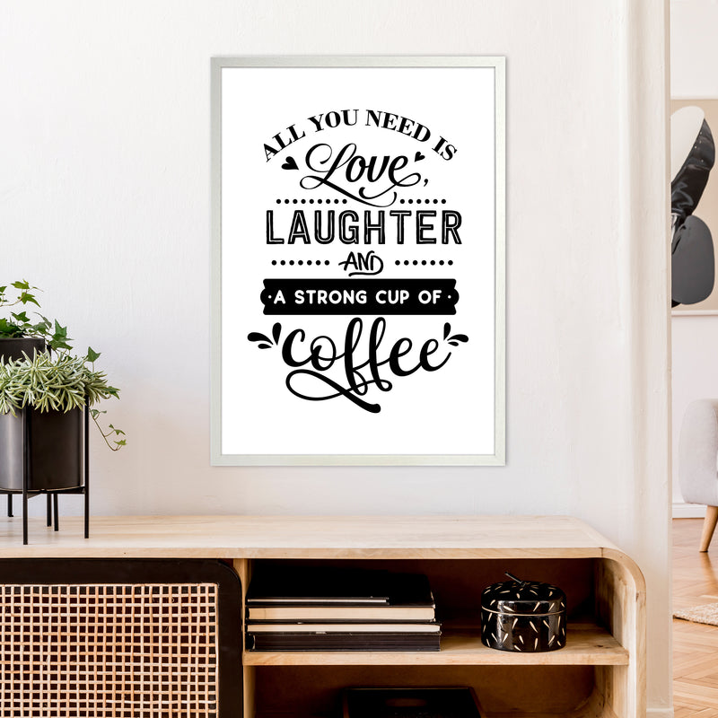 All You Need Is Love And Coffee  Art Print by Pixy Paper A1 Oak Frame