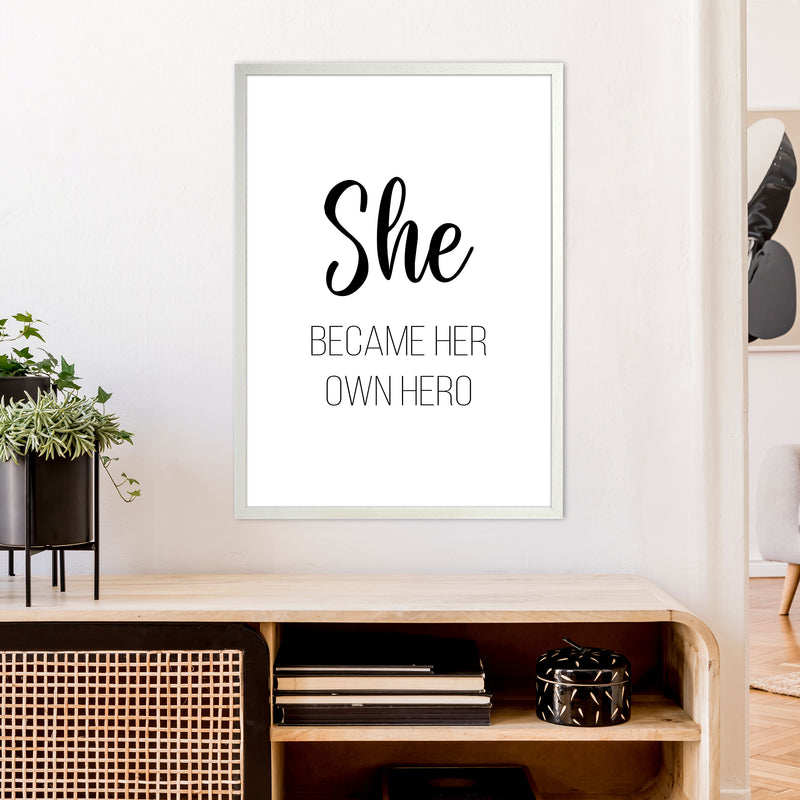 She Became Her Own Hero  Art Print by Pixy Paper A1 Oak Frame