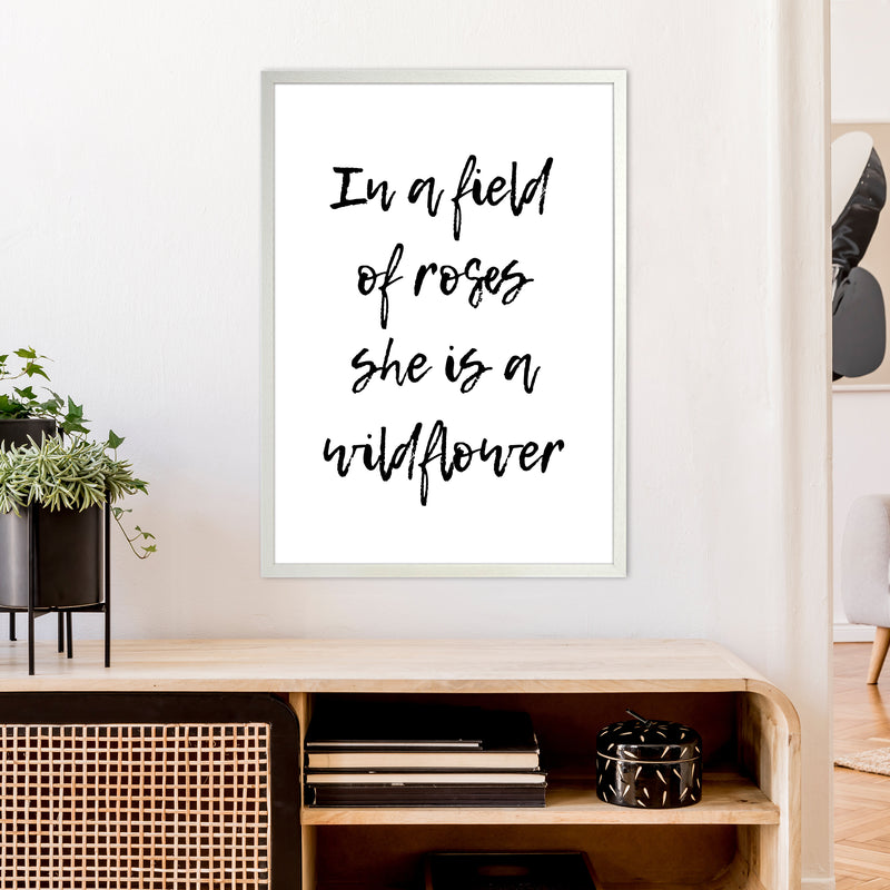 In A Field Of Roses  Art Print by Pixy Paper A1 Oak Frame