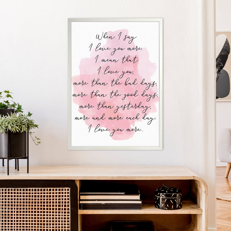 Love You More Pink  Art Print by Pixy Paper A1 Oak Frame