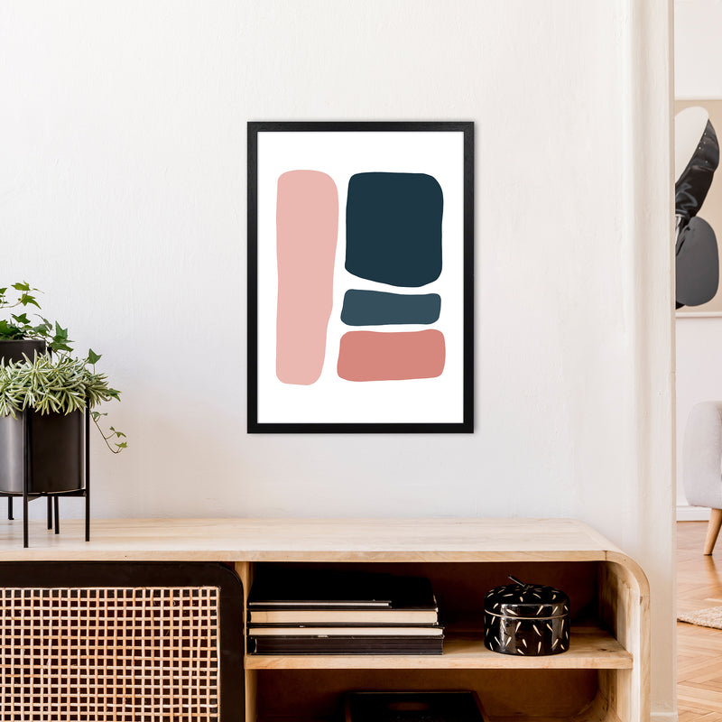 Pink And Navy Abstract Stones 3 Art Print by Pixy Paper A2 White Frame