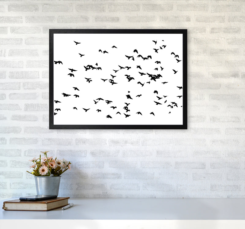 Flock Of Birds Landscape Art Print by Pixy Paper A2 White Frame