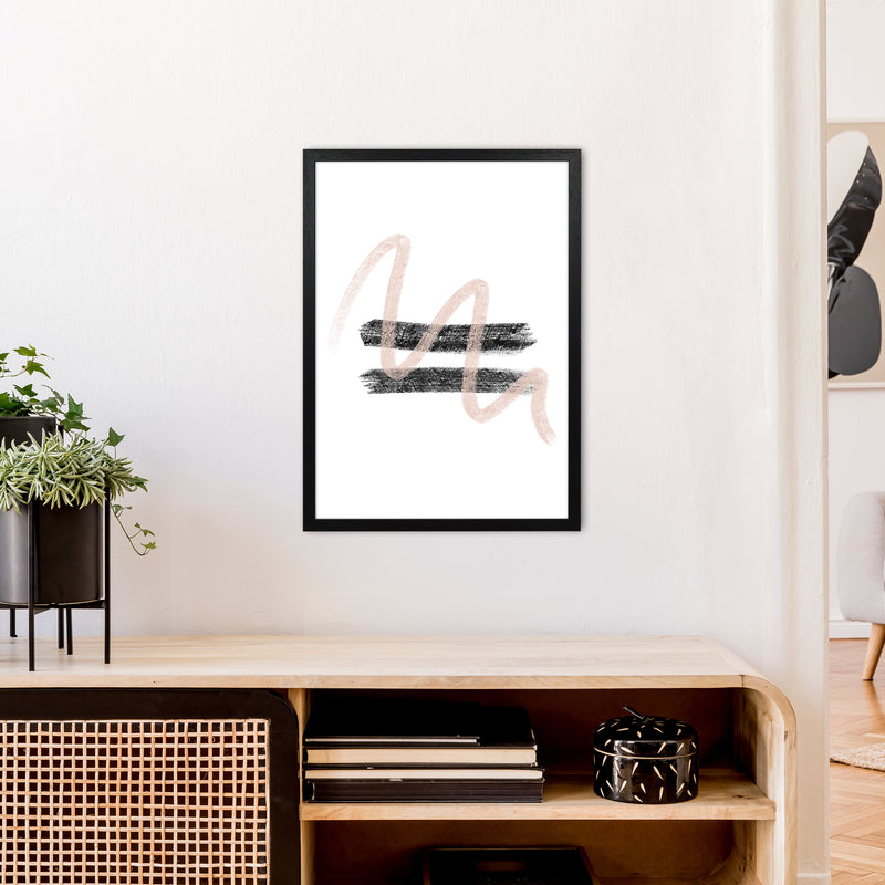 Dalia Chalk Pink And Black Line Contrast  Art Print by Pixy Paper A2 White Frame