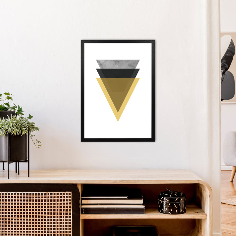 Geometric Mustard And Black Triangles  Art Print by Pixy Paper A2 White Frame