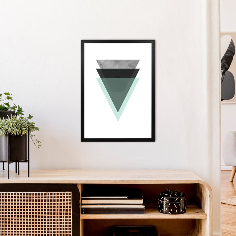 Geometric Mint And Black Triangles  Art Print by Pixy Paper A2 White Frame