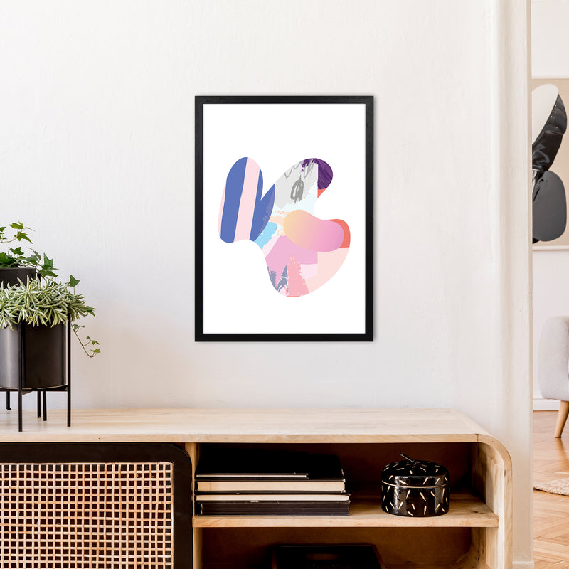 Pink Butterfly Abstract Shape  Art Print by Pixy Paper A2 White Frame