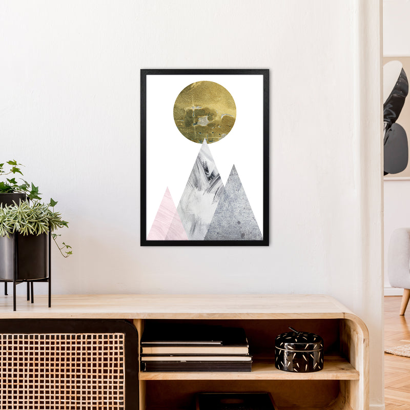 Luna Gold Moon And Mountains  Art Print by Pixy Paper A2 White Frame