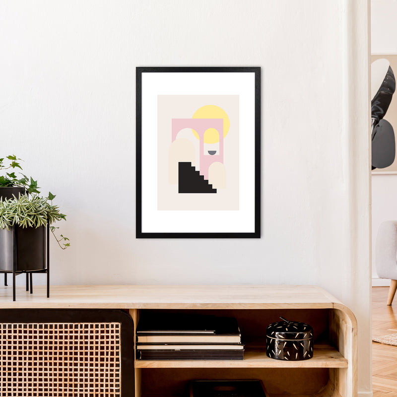 Mila Pink Stairs To Sun N6  Art Print by Pixy Paper A2 White Frame