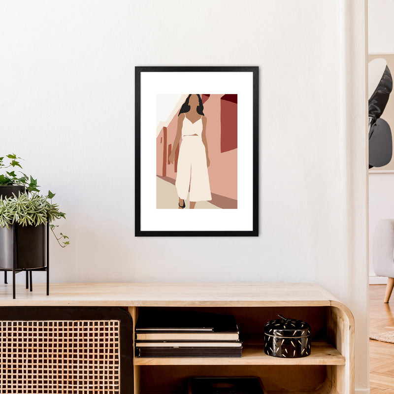 Mica Girl In Street N7  Art Print by Pixy Paper A2 White Frame