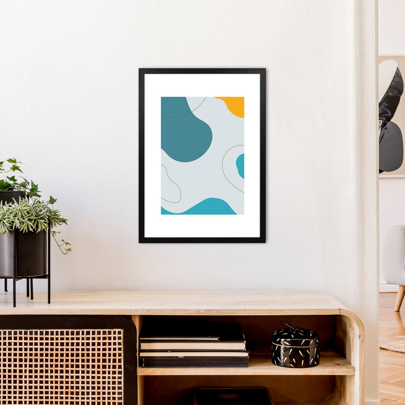 Mita Teal Abstract N16  Art Print by Pixy Paper A2 White Frame