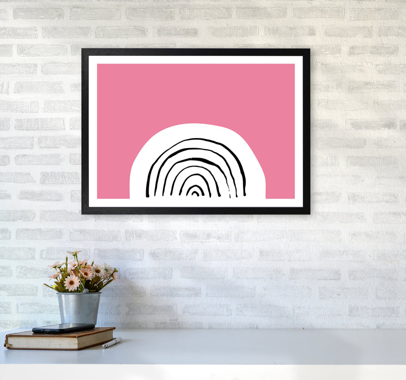 Pink Rainbow Neon Funk  Art Print by Pixy Paper A2 White Frame