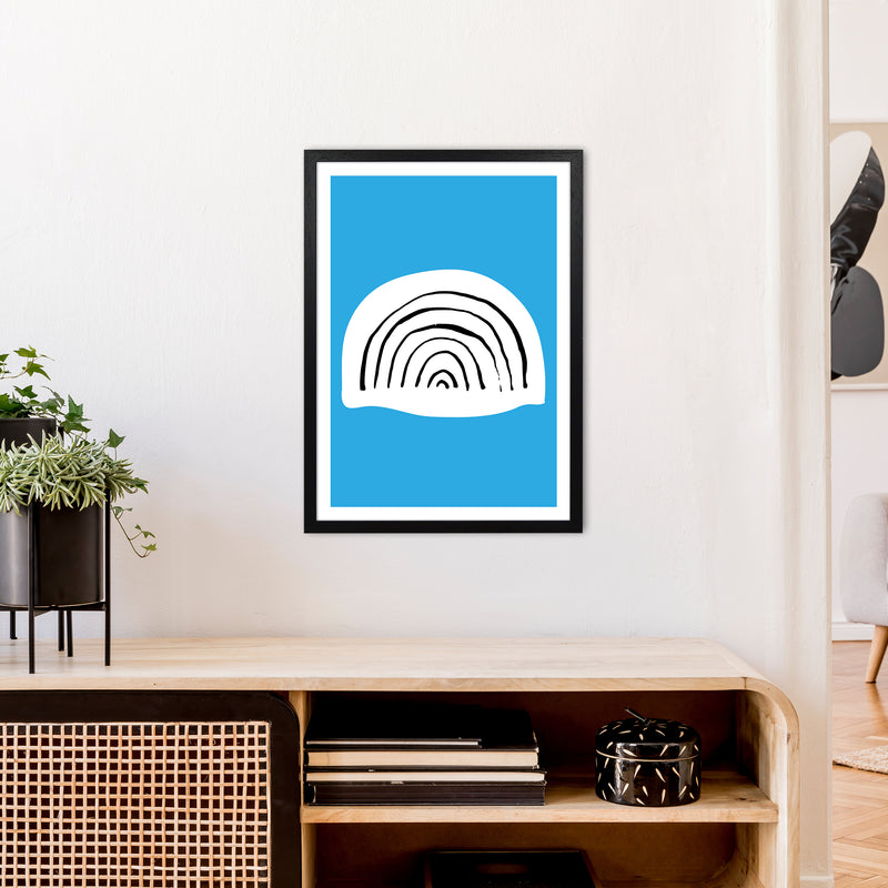 Blue Rainbow Neon Funk  Art Print by Pixy Paper A2 White Frame