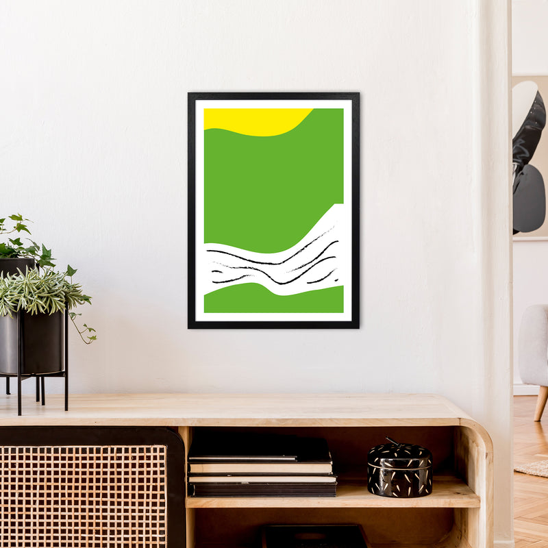 Green Lines Neon Funk  Art Print by Pixy Paper A2 White Frame
