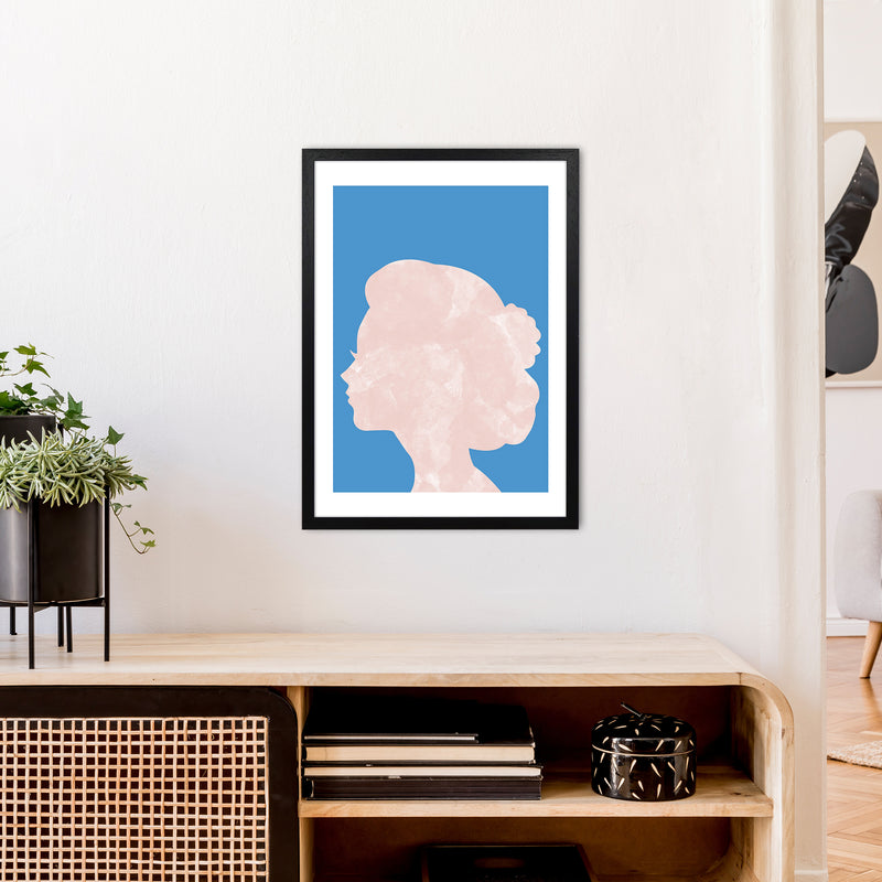 Marble Head Blue  Art Print by Pixy Paper A2 White Frame