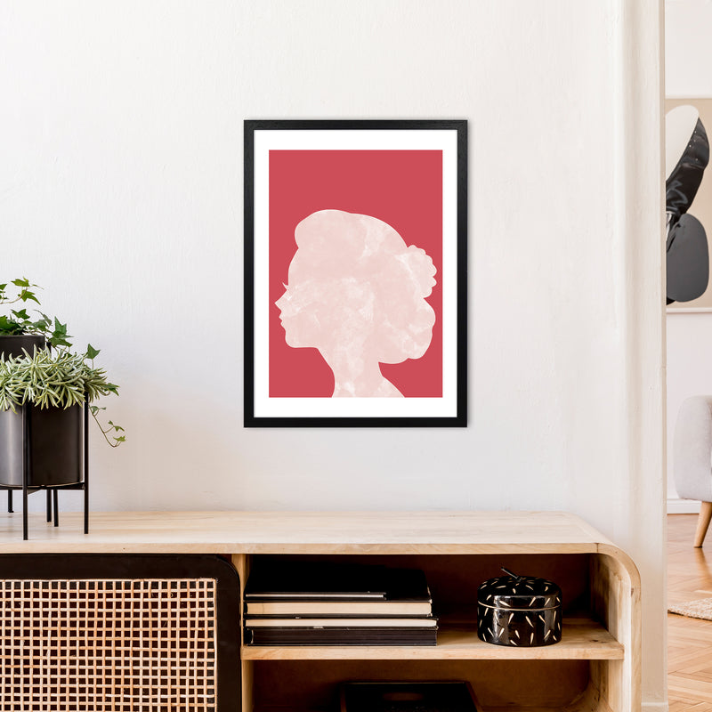 Marble Head Red  Art Print by Pixy Paper A2 White Frame