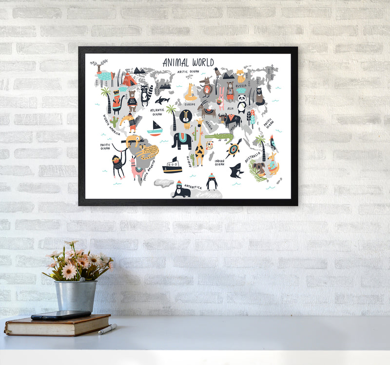 Animal World Map  Art Print by Pixy Paper A2 White Frame