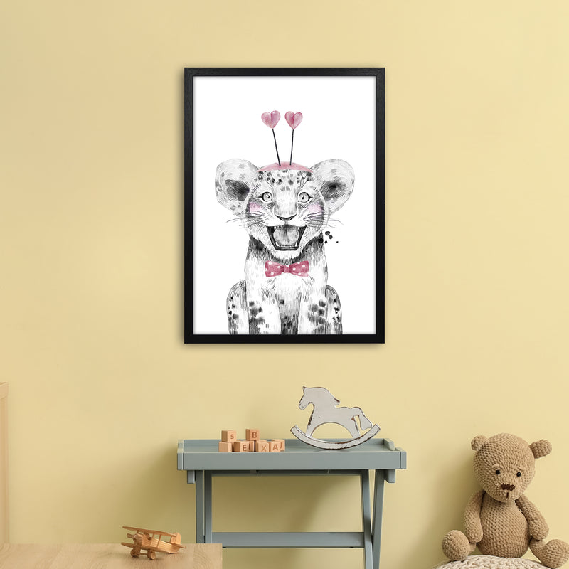 Safari Babies Tiger With Heart Hat  Art Print by Pixy Paper A2 White Frame