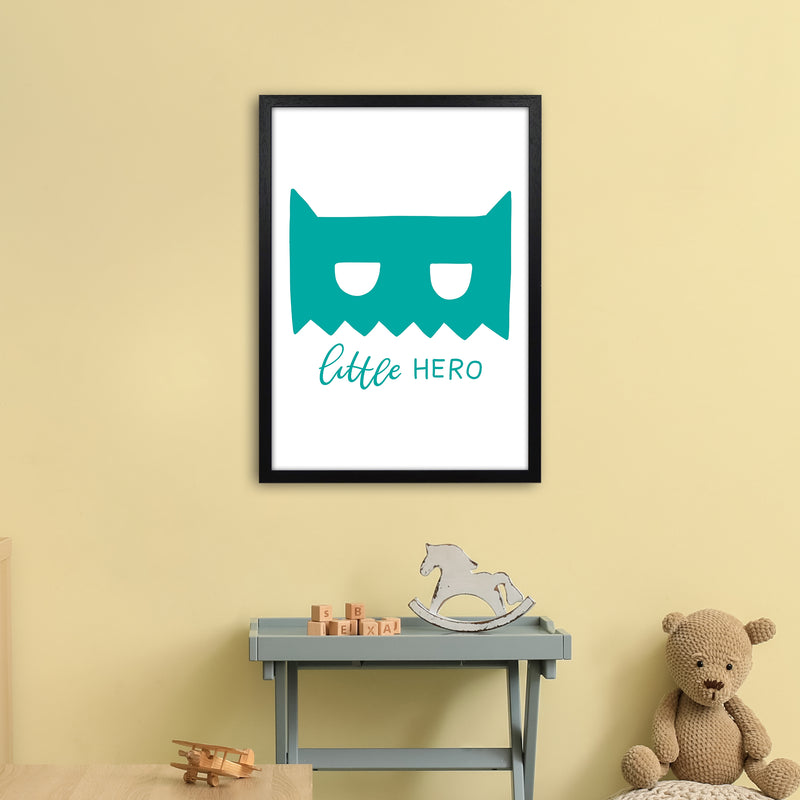 Little Hero Mask Teal Super Scandi  Art Print by Pixy Paper A2 White Frame