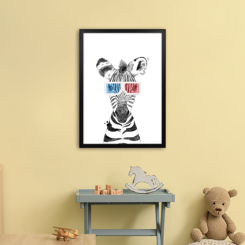 Safari Babies Zebra With Glasses  Art Print by Pixy Paper A2 White Frame