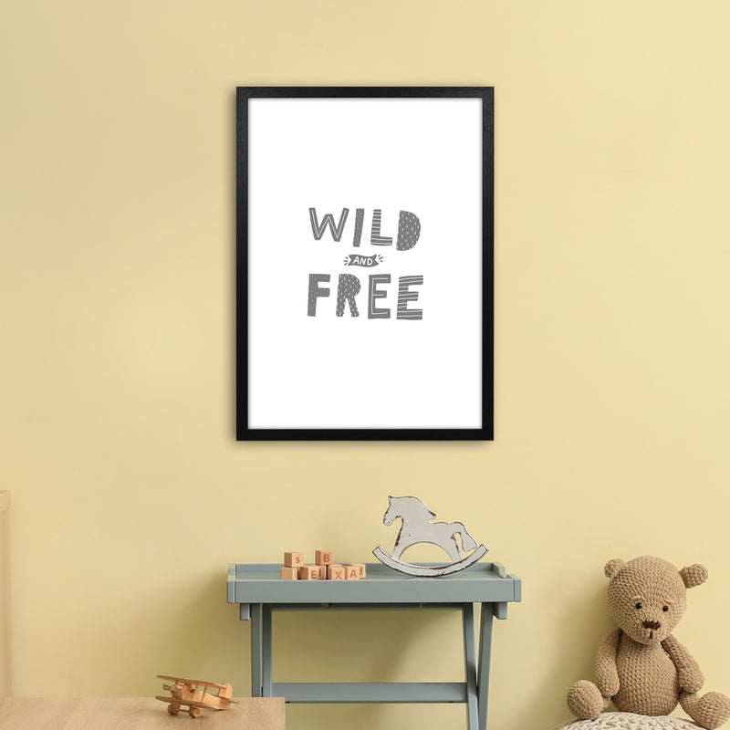 Wild And Free Grey Super Scandi  Art Print by Pixy Paper A2 White Frame