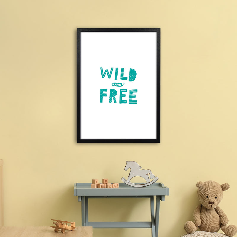 Wild And Free Teal Super Scandi  Art Print by Pixy Paper A2 White Frame