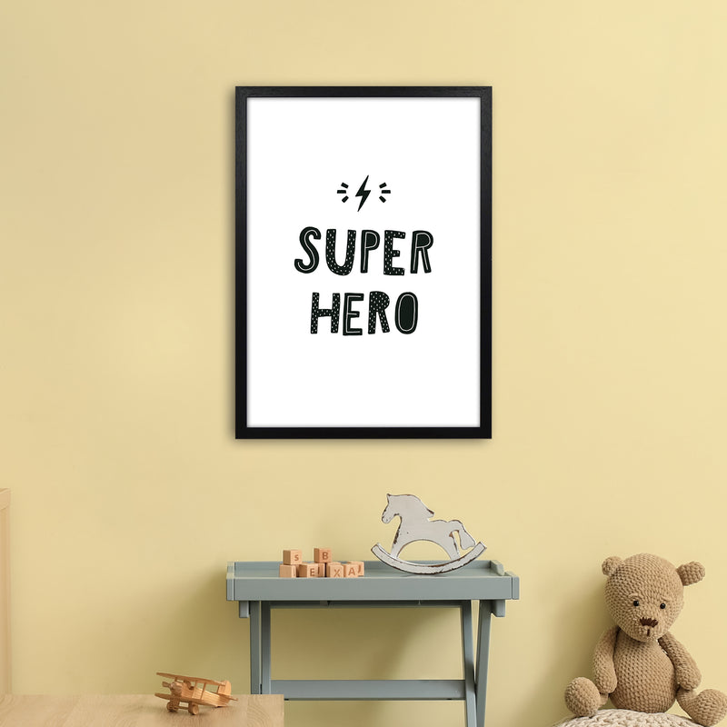Super Hero Black Super Scandi  Art Print by Pixy Paper A2 White Frame
