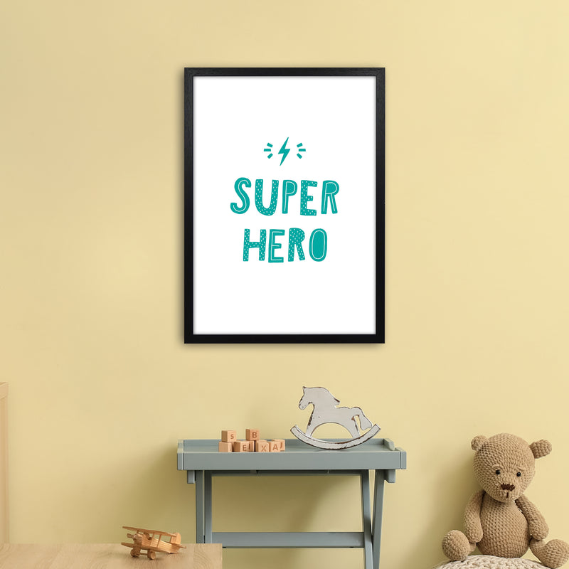 Super Hero Teal Super Scandi  Art Print by Pixy Paper A2 White Frame