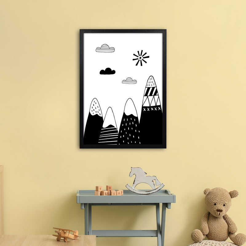 Scandinavian Mountains  Art Print by Pixy Paper A2 White Frame