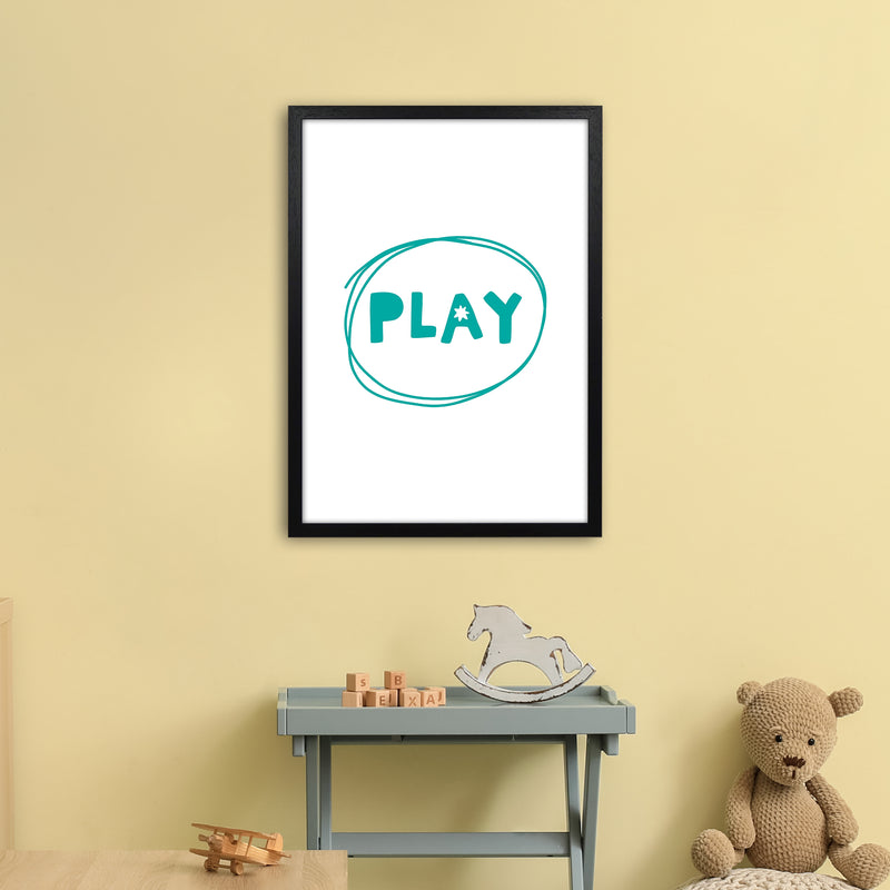 Play Teal Super Scandi  Art Print by Pixy Paper A2 White Frame