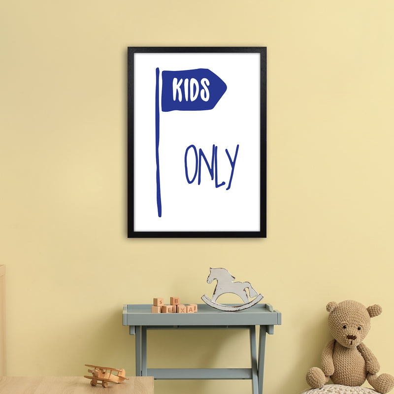 Kids Only Navy  Art Print by Pixy Paper A2 White Frame