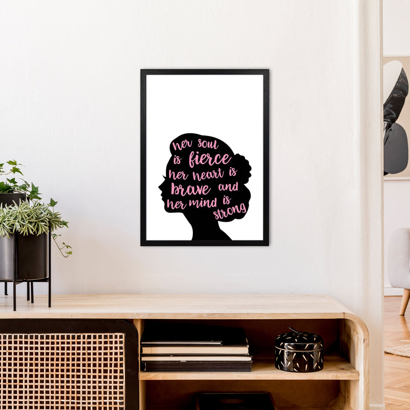Her Soul Is Fierce Pink  Art Print by Pixy Paper A2 White Frame