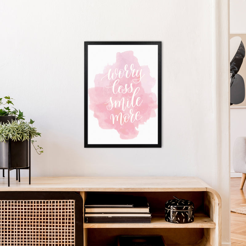 Worry Less Smile More  Art Print by Pixy Paper A2 White Frame