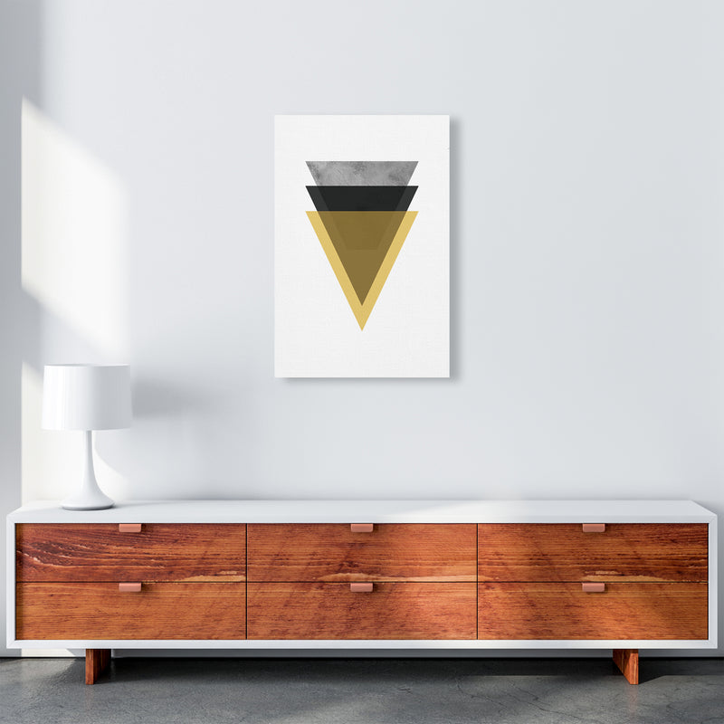 Geometric Mustard And Black Triangles  Art Print by Pixy Paper A2 Canvas