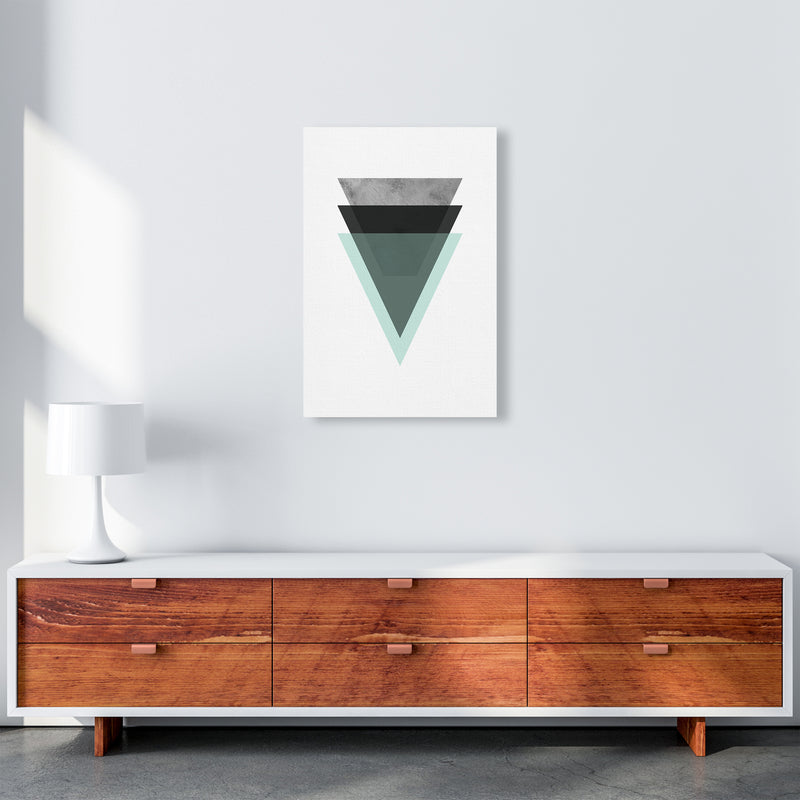 Geometric Mint And Black Triangles  Art Print by Pixy Paper A2 Canvas