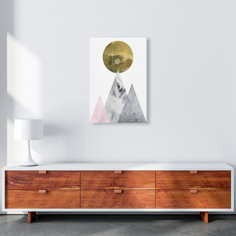 Luna Gold Moon And Mountains  Art Print by Pixy Paper A2 Canvas