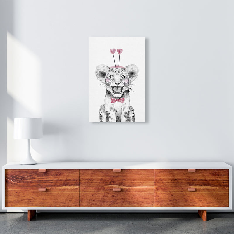 Safari Babies Tiger With Heart Hat  Art Print by Pixy Paper A2 Canvas