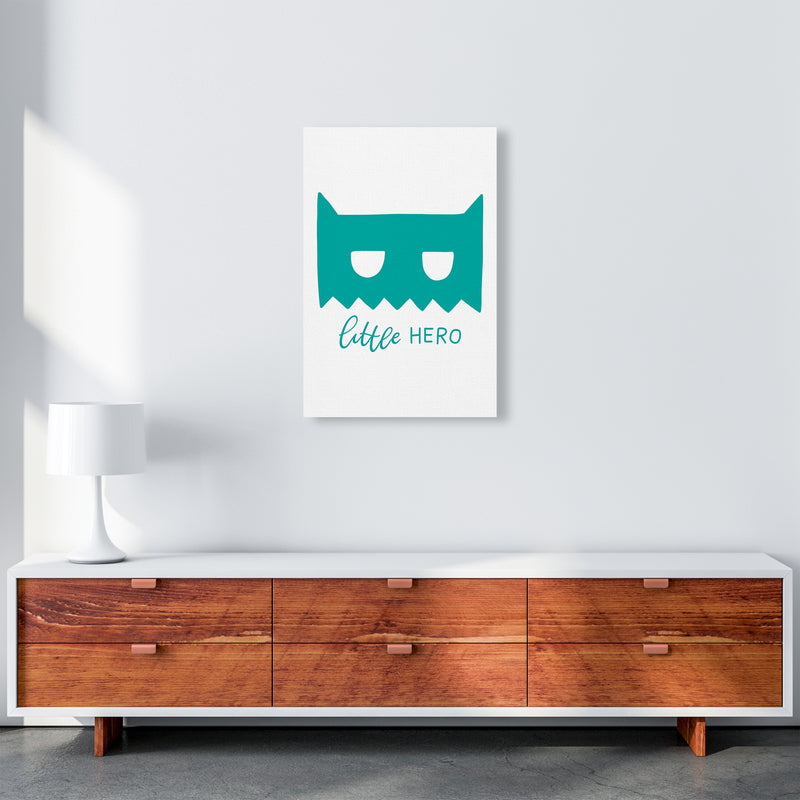 Little Hero Mask Teal Super Scandi  Art Print by Pixy Paper A2 Canvas
