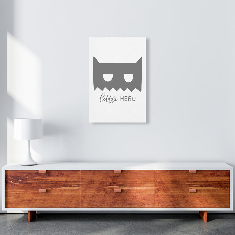 Little Hero Mask Super Scandi Grey  Art Print by Pixy Paper A2 Canvas