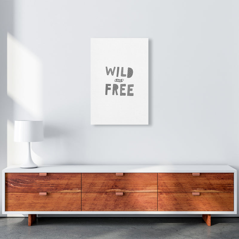Wild And Free Grey Super Scandi  Art Print by Pixy Paper A2 Canvas