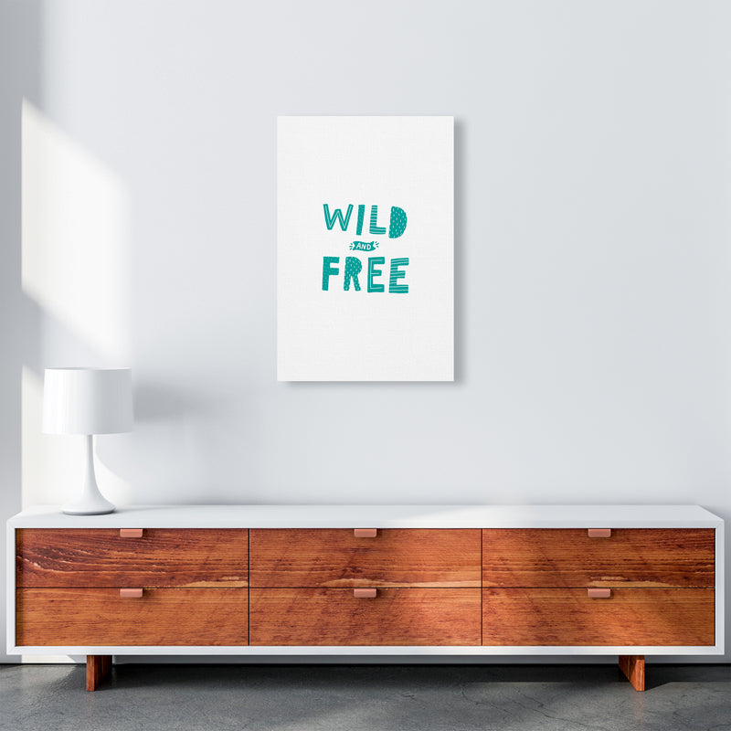 Wild And Free Teal Super Scandi  Art Print by Pixy Paper A2 Canvas