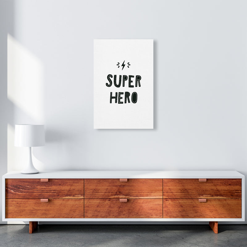 Super Hero Black Super Scandi  Art Print by Pixy Paper A2 Canvas